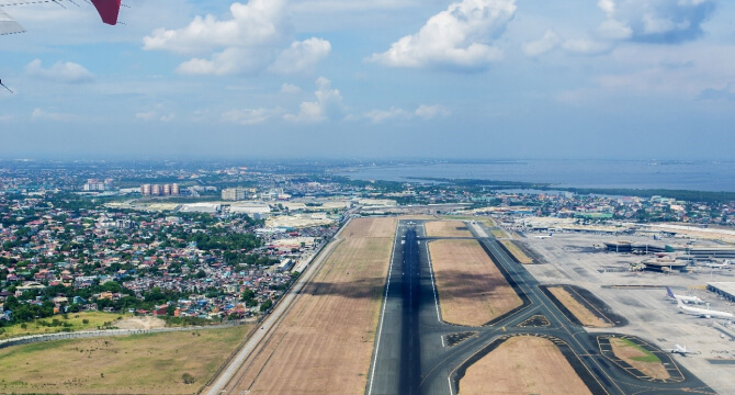 Aerial view of airport in Manila